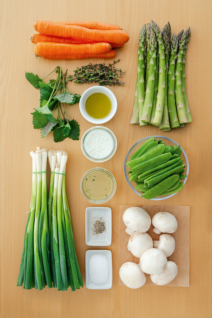 Ingredients for vegetable ragout in lemon cream