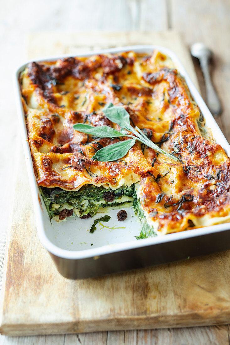 Spinach lasagne with a gorgonzola Bechamel sauce