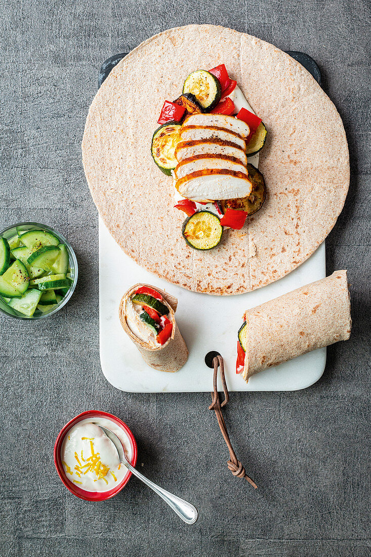 Wraps with grilled vegetables and chicken breast