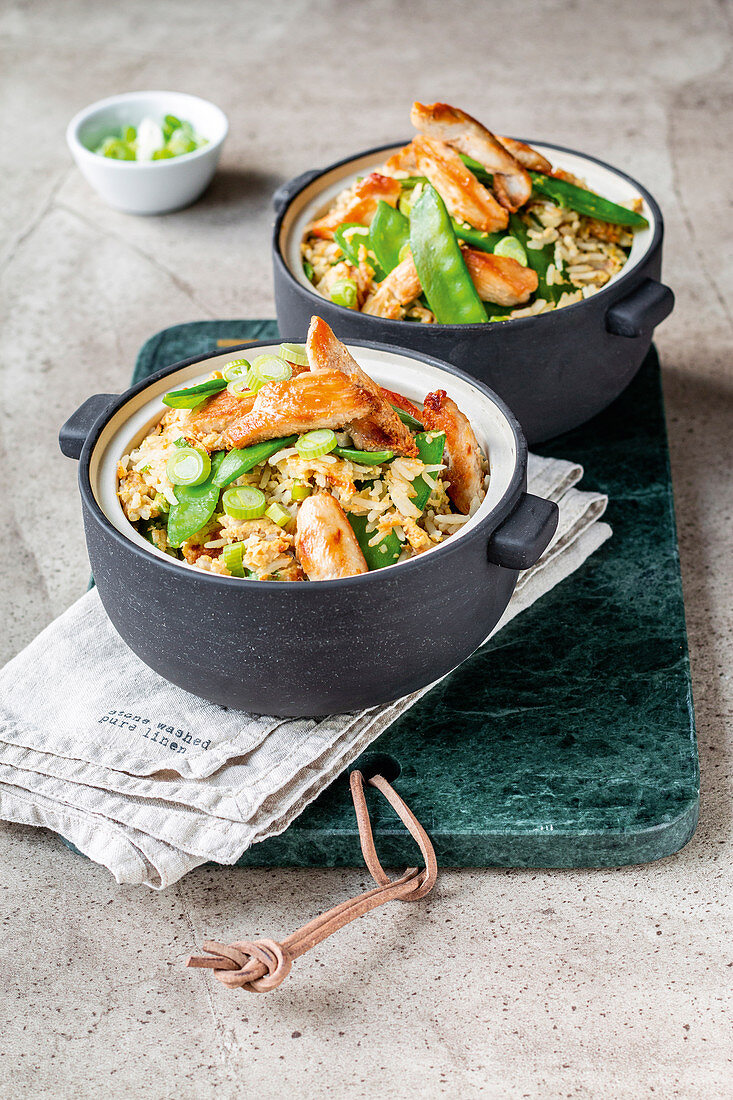 Egg fried rice with oriental vegetables