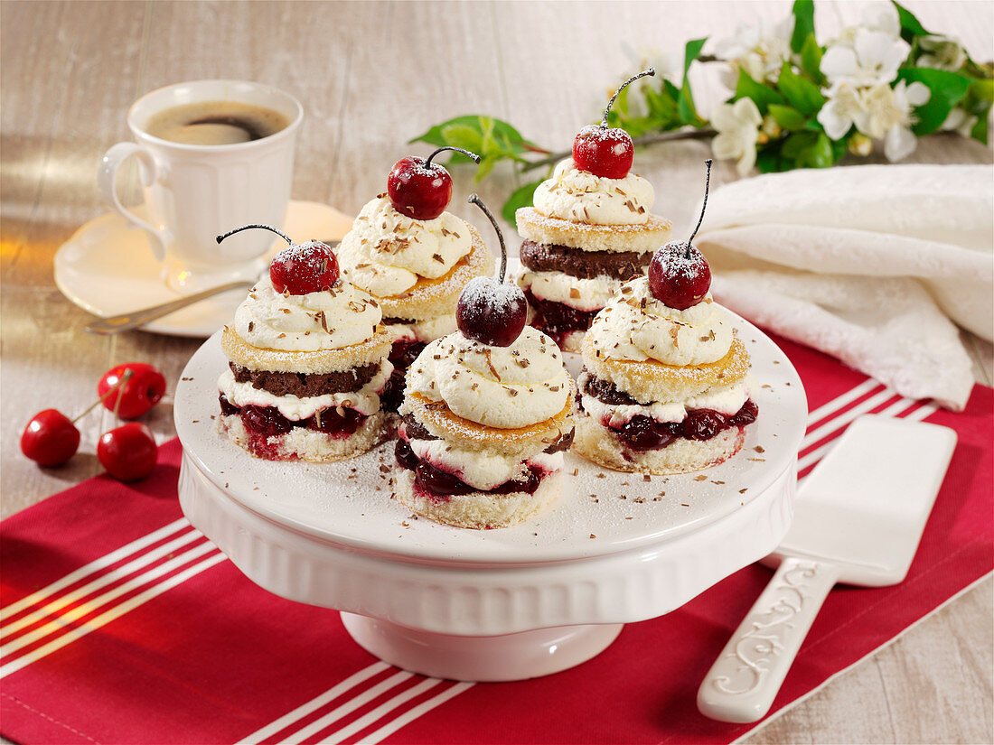 Upside-down Black Forest Gateaux cakes