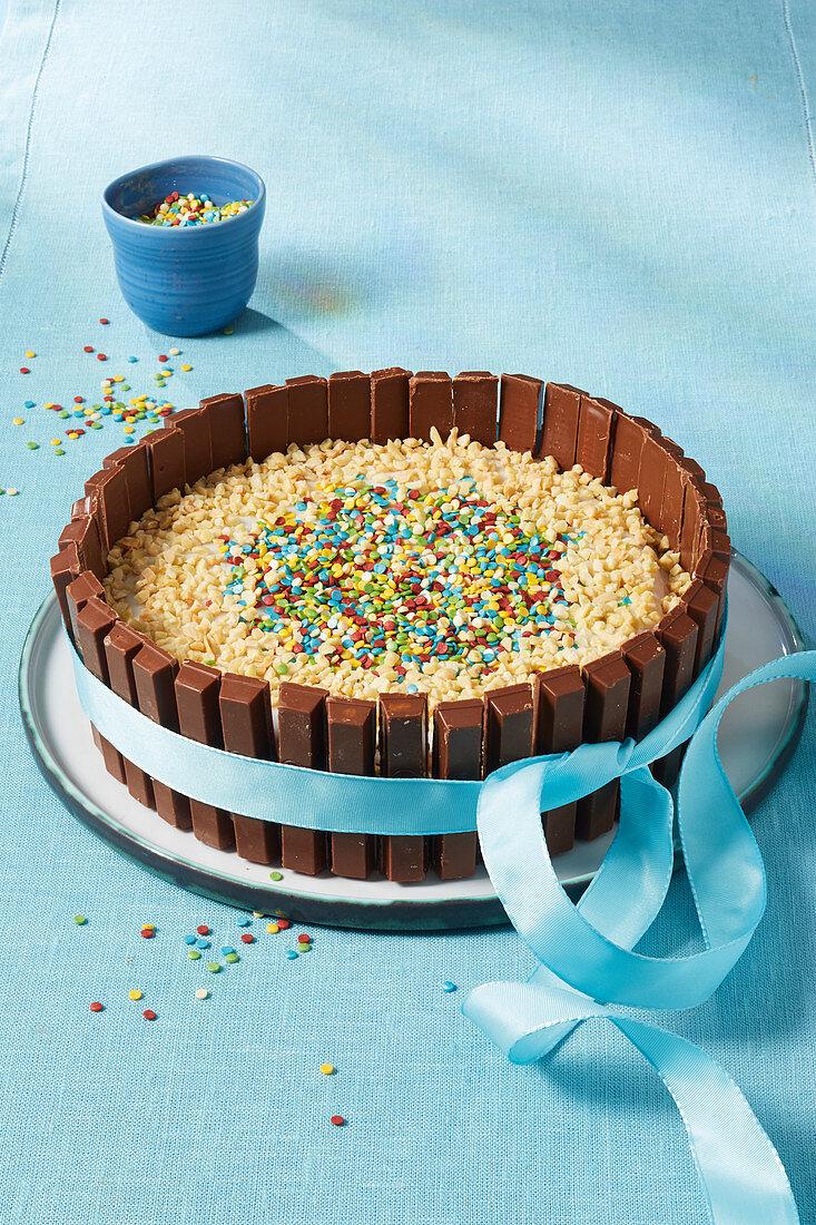 A Kitkat fence cake