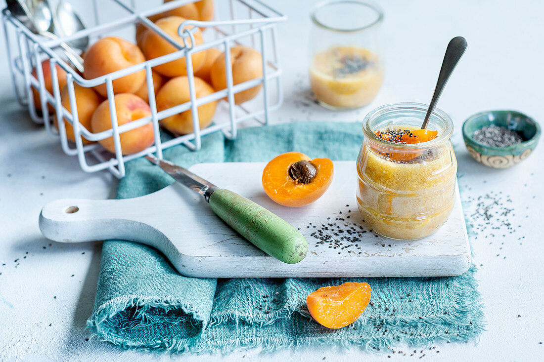 Apricot dessert with chia seeds