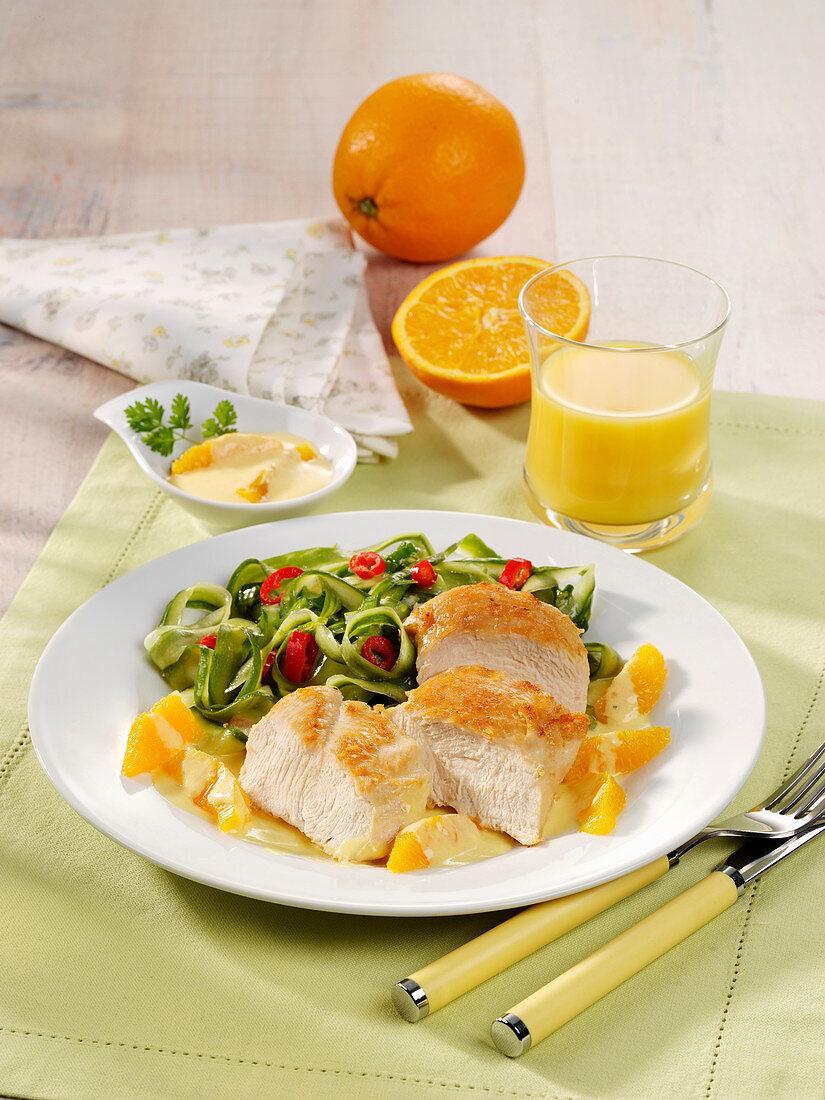 Quick chicken fillets in an orange sauce