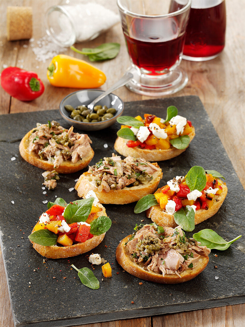 A duo of bruschetta with tuna and goat's cheese