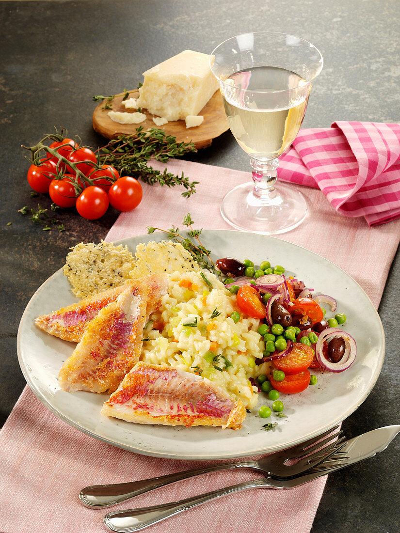 Triglie (Rotbarbe) mit Risotto und Gemüse