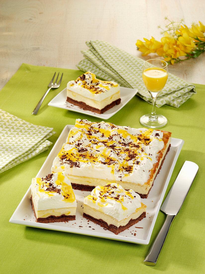 Eggnog tray bake cheesecake
