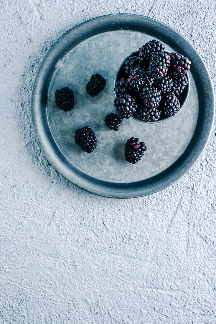 Cup with ripe blackberries placed on metal tray on plaster surface