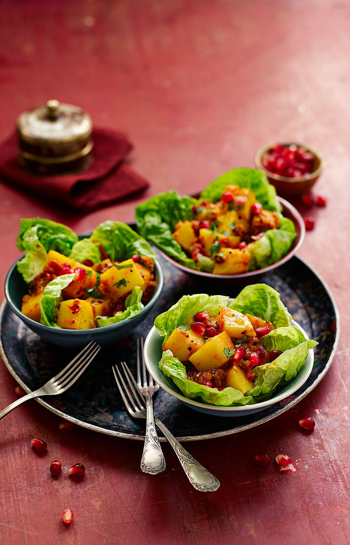Aloo chaat (fried diced potatoes with chutney, India)