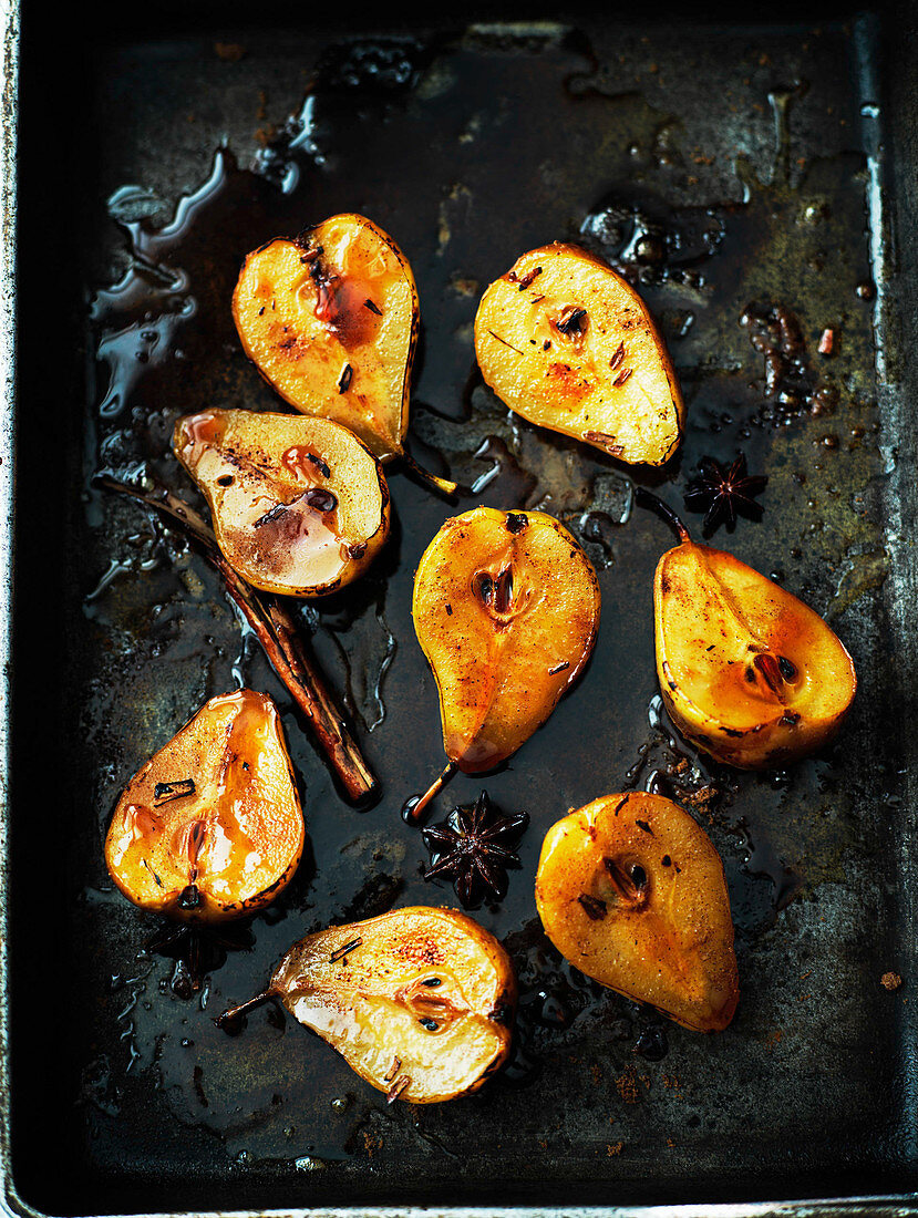 Sticky caramelised and baked pears with cinnamon and star anise, Asia