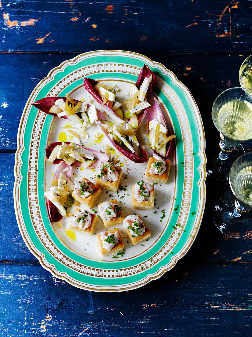 Party food with chicory, feta, prawns, pear and mayonnaise