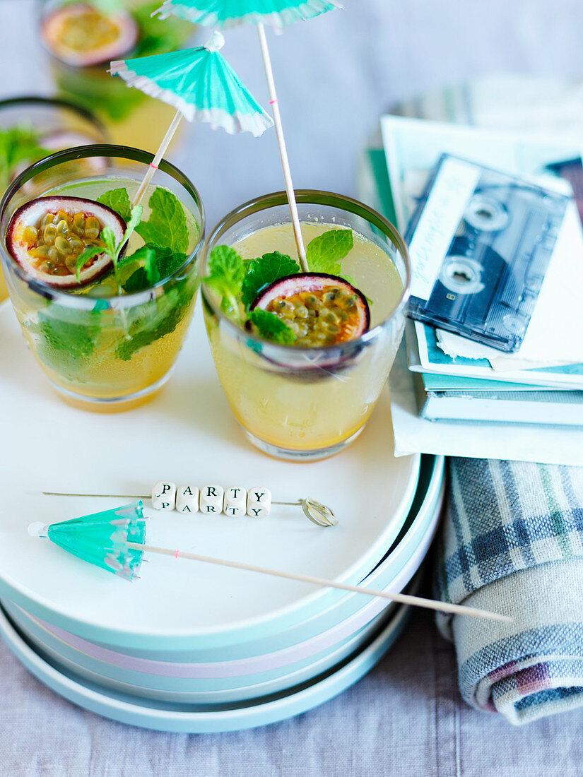 Passionfruit cocktails with mint