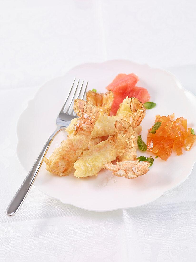 Prawn tempura with grapefruit jelly