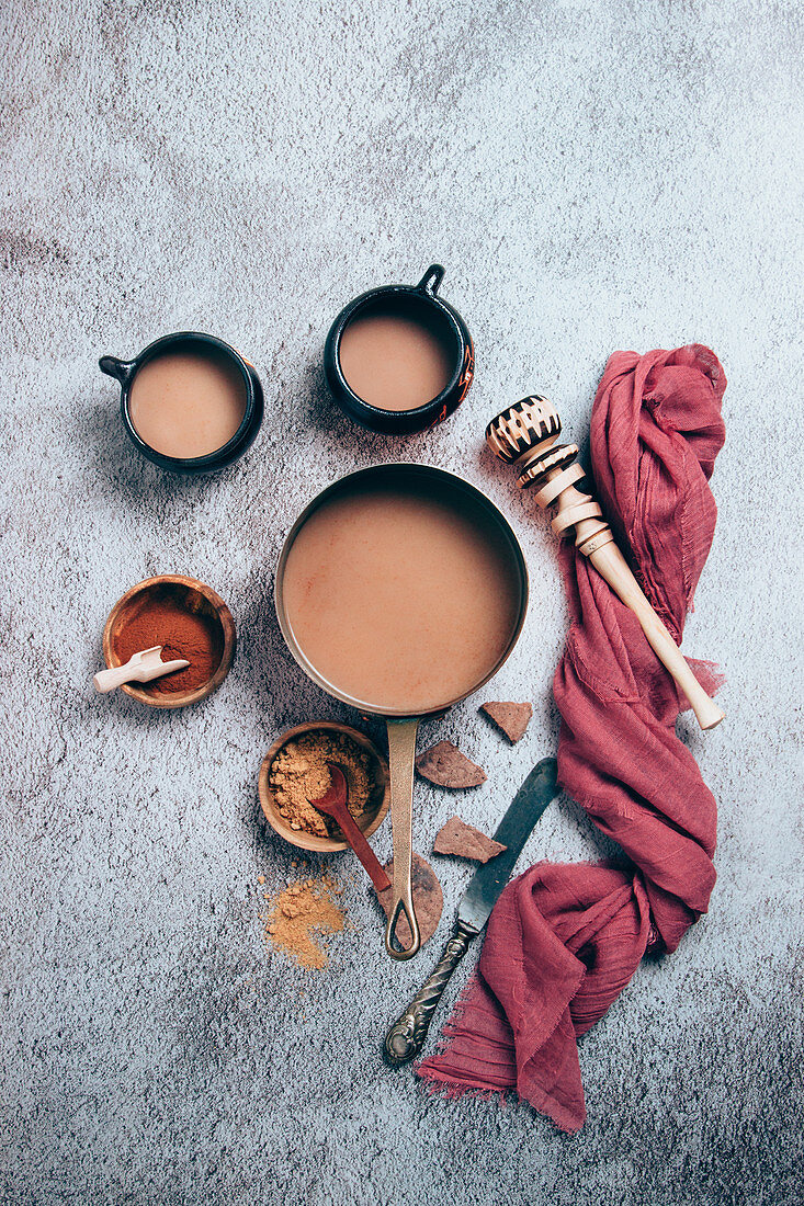 Mexican spicy hot chocolate with cinnamon and red pepper powders