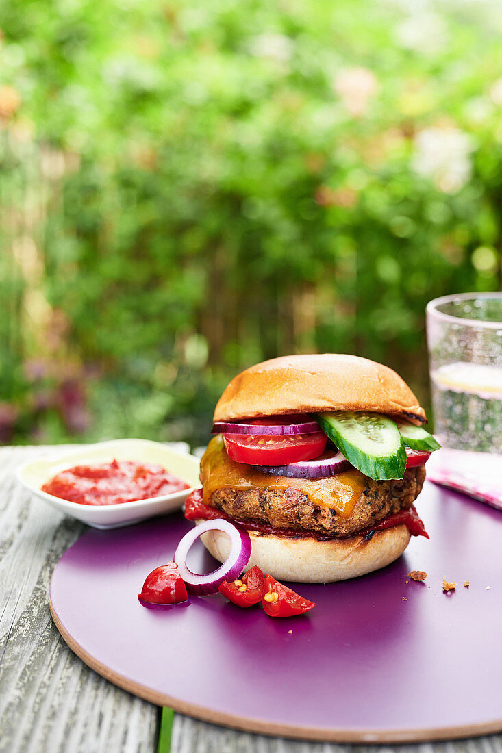 Veggie burgers on a table in the garden