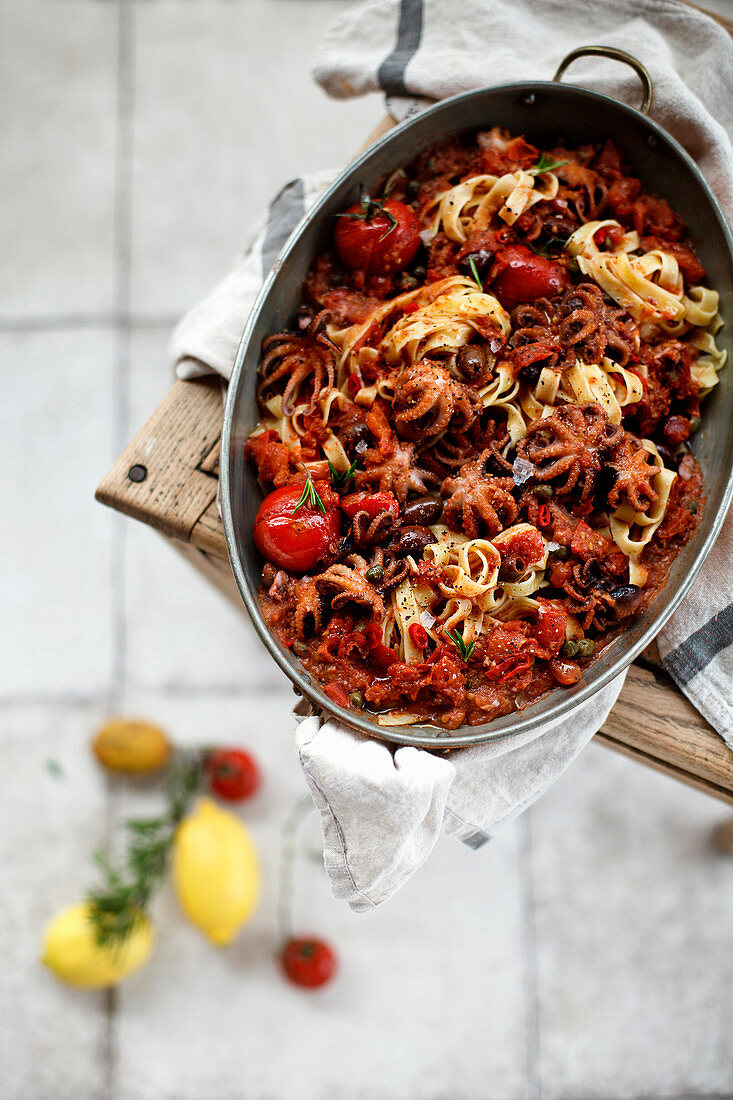Tagliatelle with seafood and tomatoes