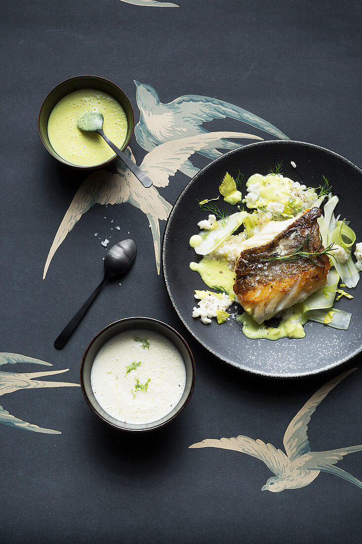 Fish fillet with lemongrass and lime sauce, and a frothy fennel sauce