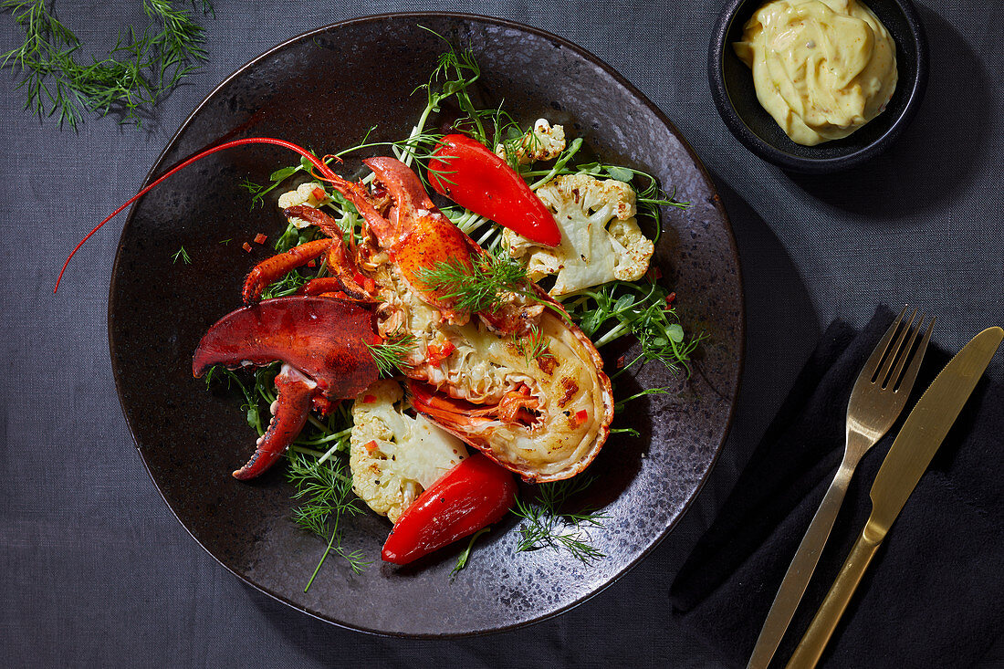 Lobster with chili peppers and cauliflower