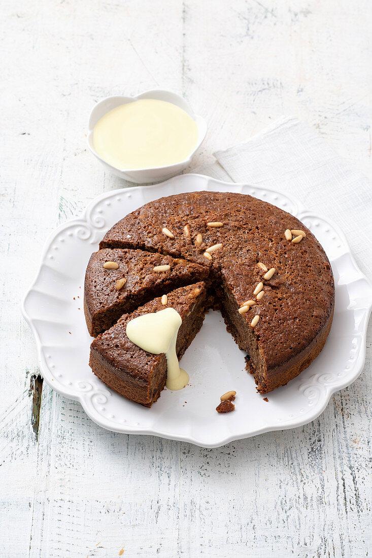 Bread and chocolate bake with zabaione