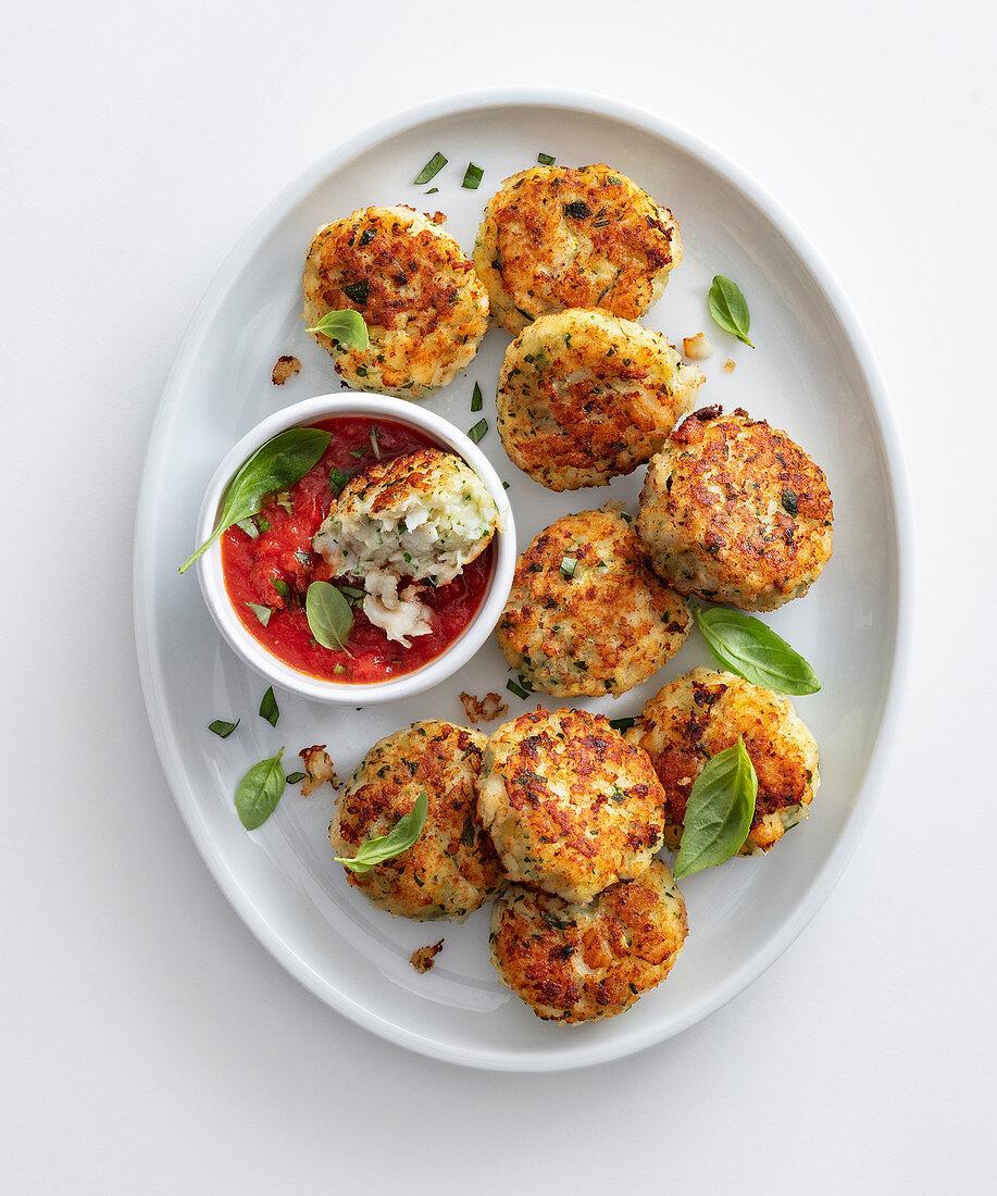 Flounder balls with tomato sauce