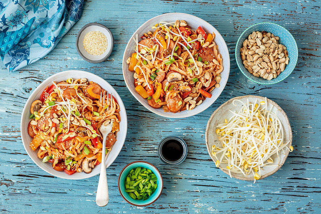 Chow Mein with sausage, sprouts and peanuts (China)