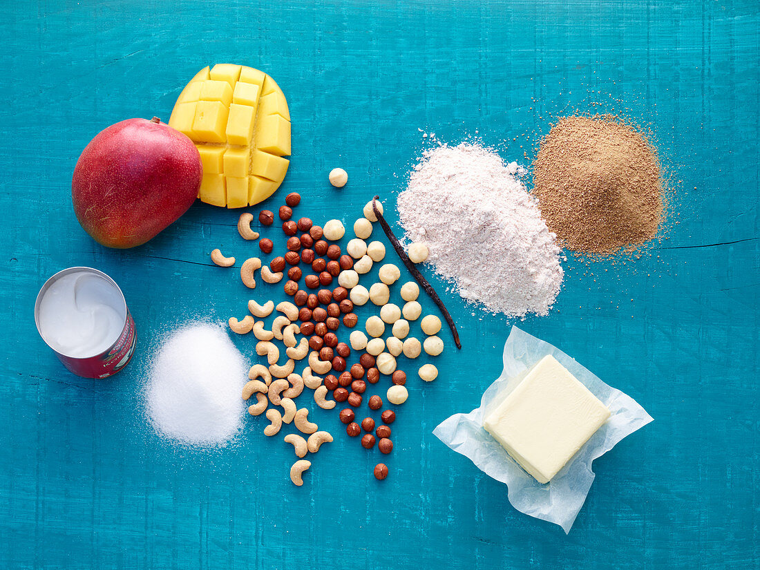 Ingredients for mango crumble