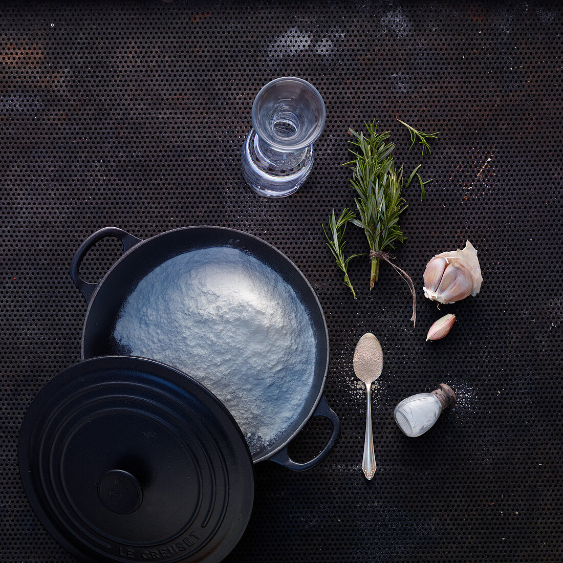 Baking ingredients and utensils for a No Knead bread