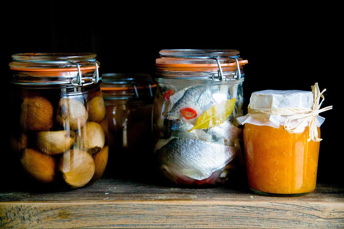 Jars of preserves and pickles