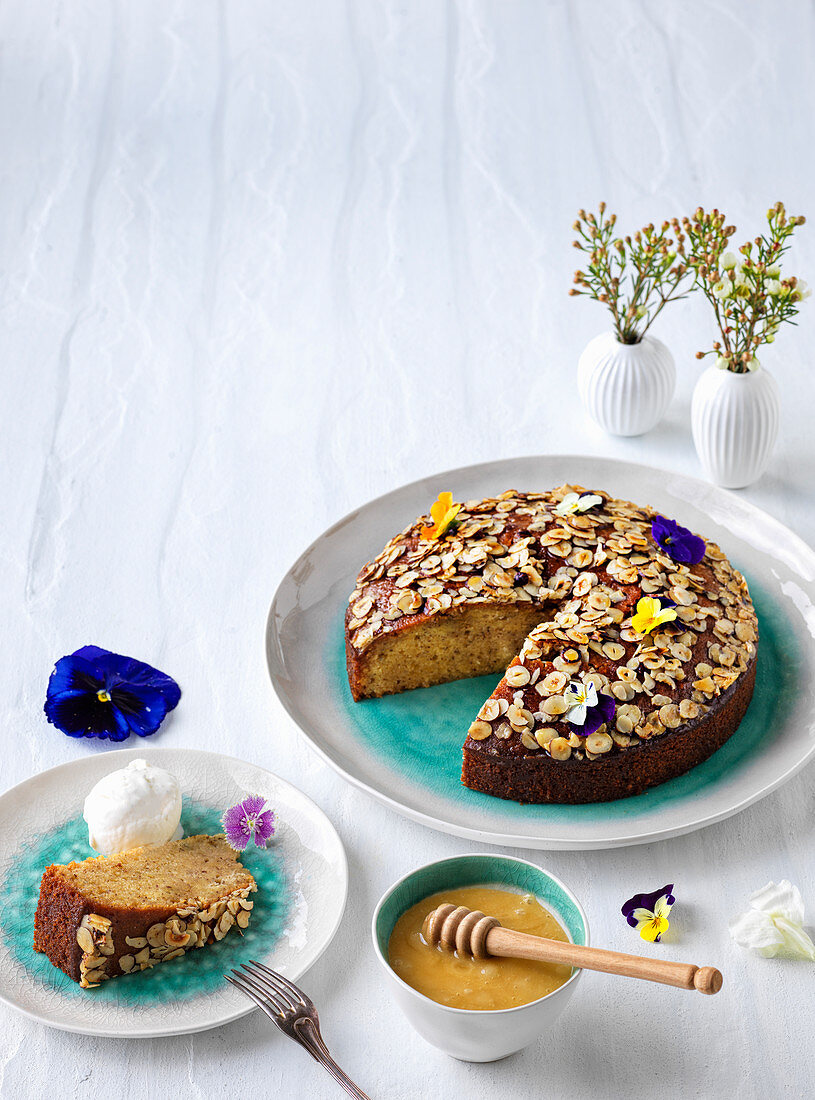 Blossom honey and hazelnut cake