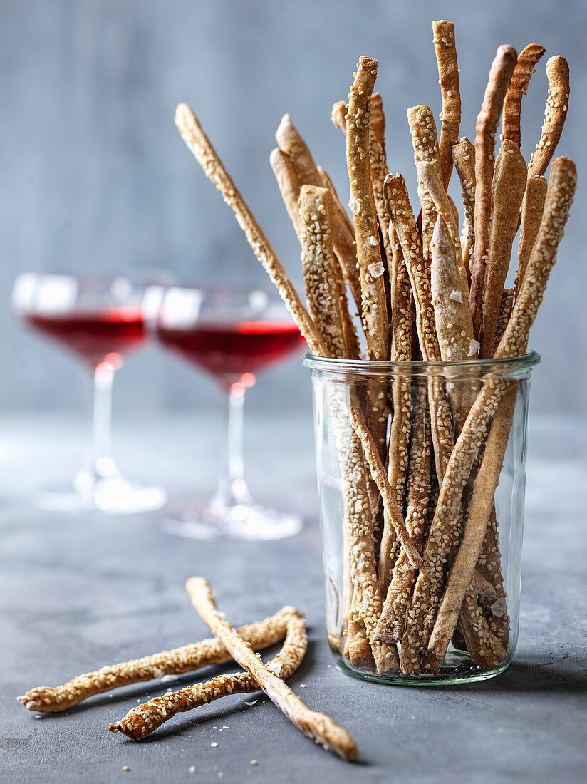 Homemade sesame breadsticks