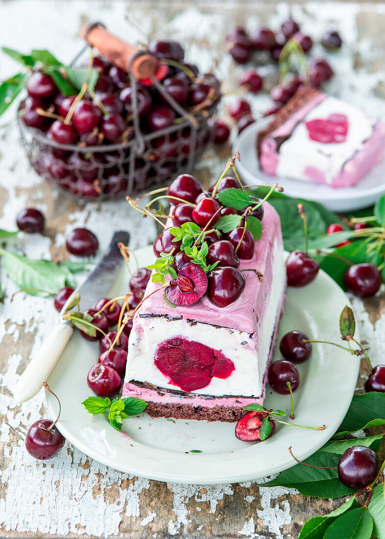 Cherry ice cream cake with chocolate