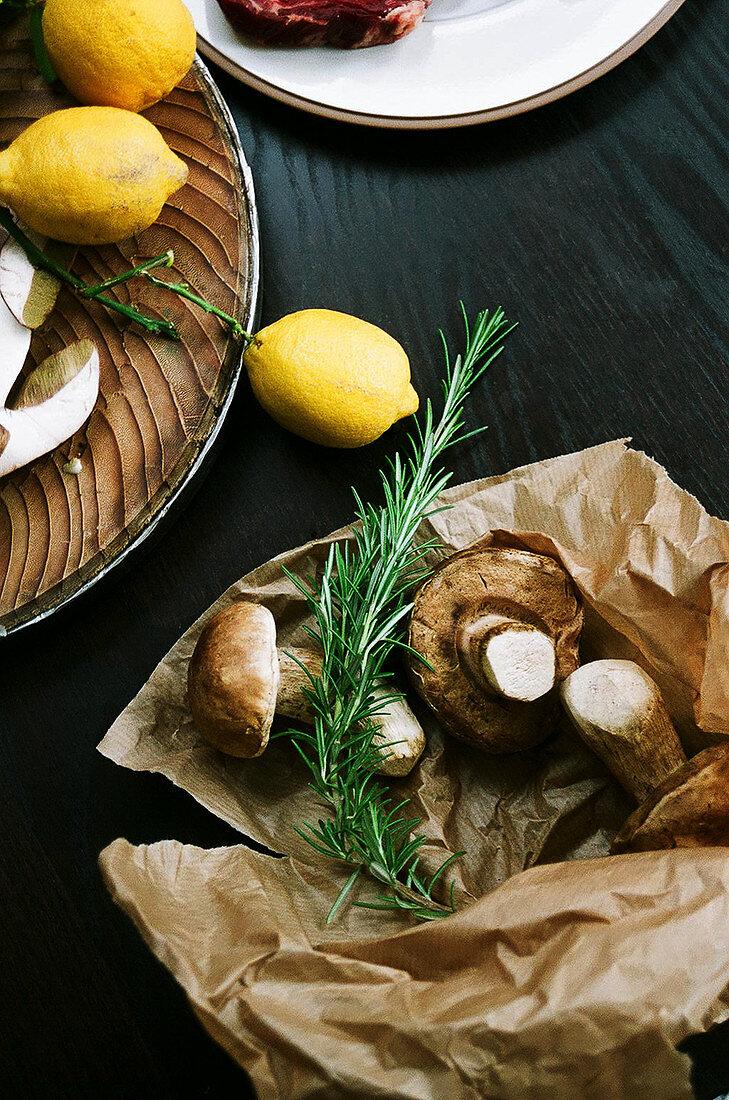 Mushrooms, rosemary and lemon preparation