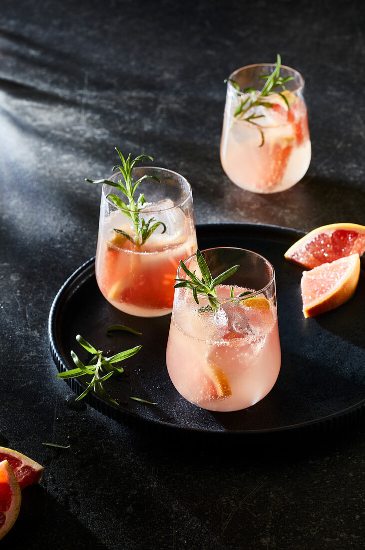 Pink tonic with grapefruit and rosemary
