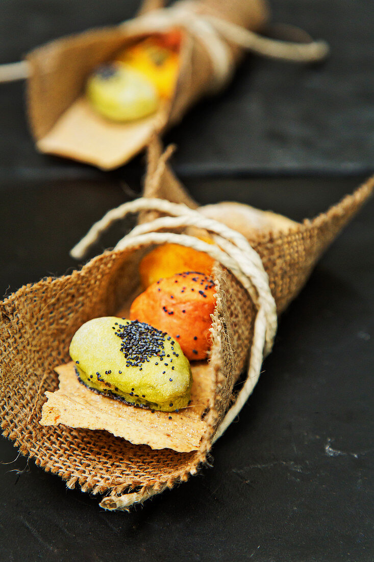Spicy choux pastry in a jute wrap