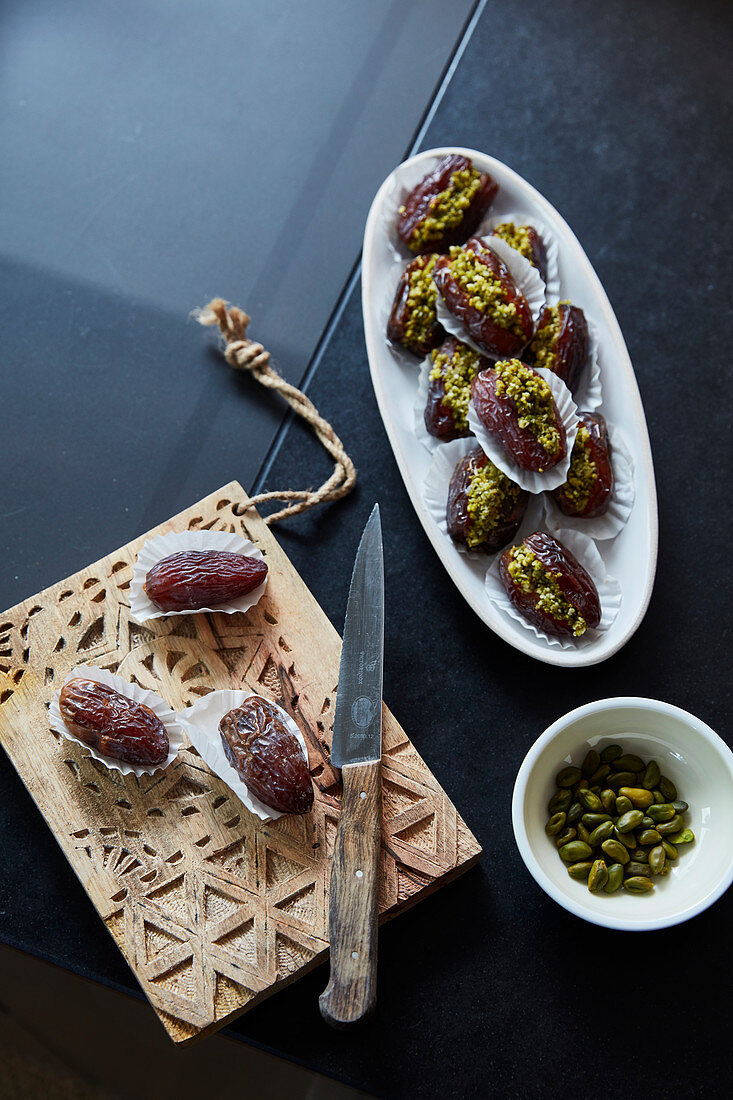 Dried dates with pistachios