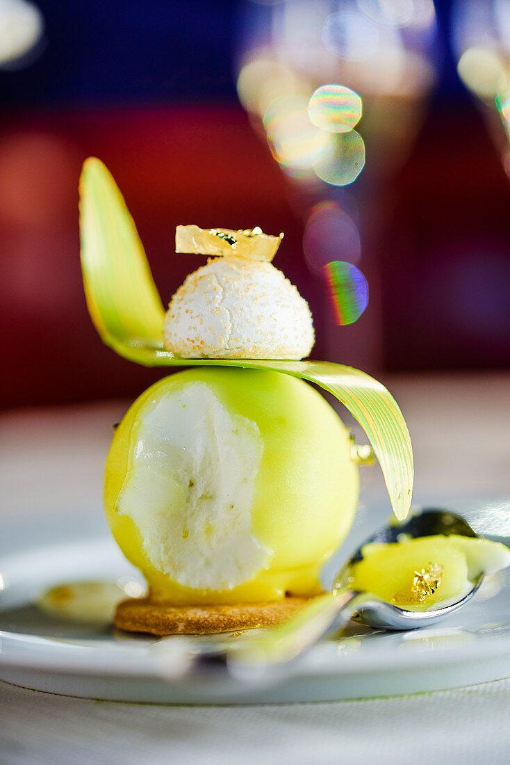 Festive apple ice cream with gold leaf