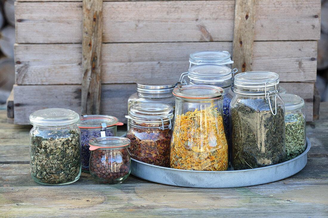 Storage jars with dried tea herbs