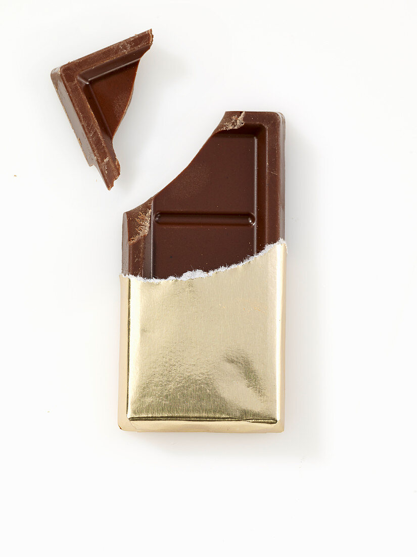Chocolate bar in gold paper, opened