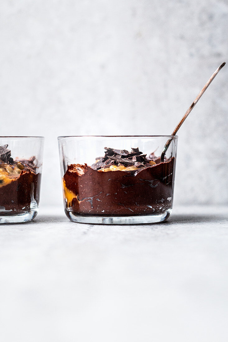 Fast avocado chocolate mousse with passion fruit