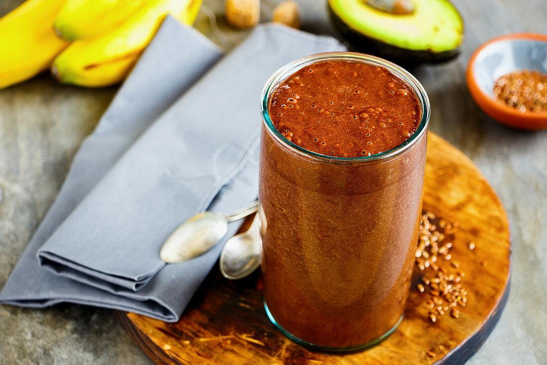 Avocado, chocolate, banana smoothie