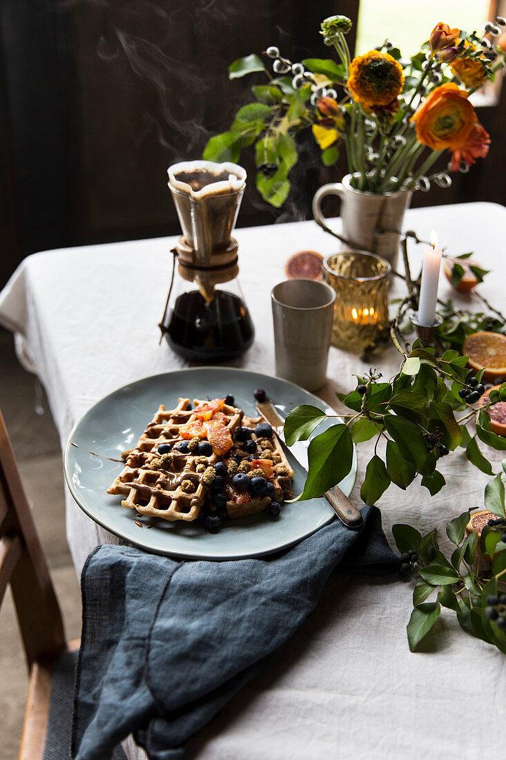 Vegan soy milk waffles with mulberries