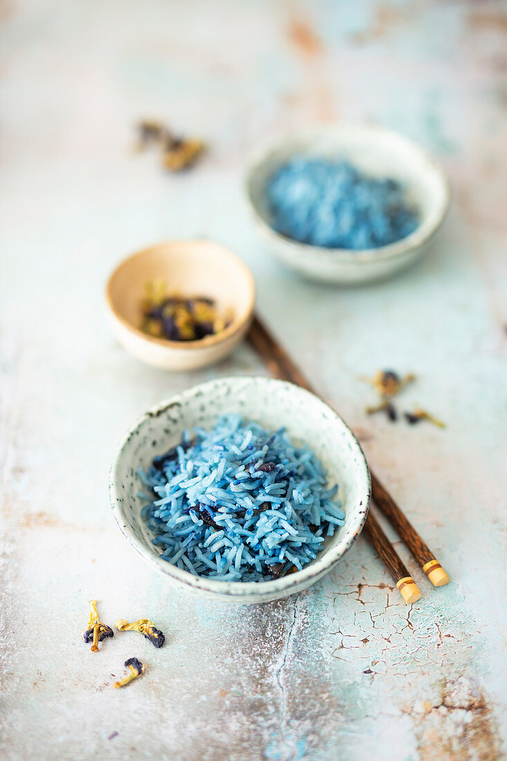 Basmati rice colored with edible flowers