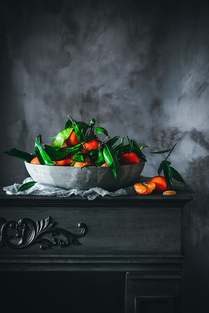 Mandarins in a gray bowl