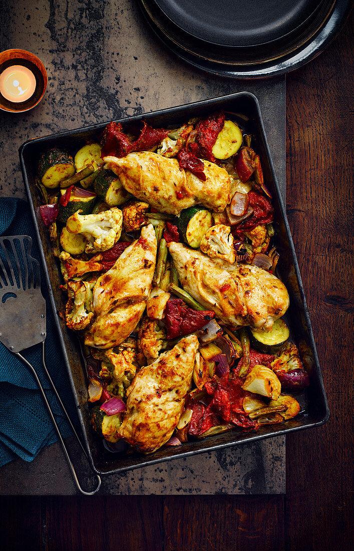 Jalfrezi Chicken Traybake