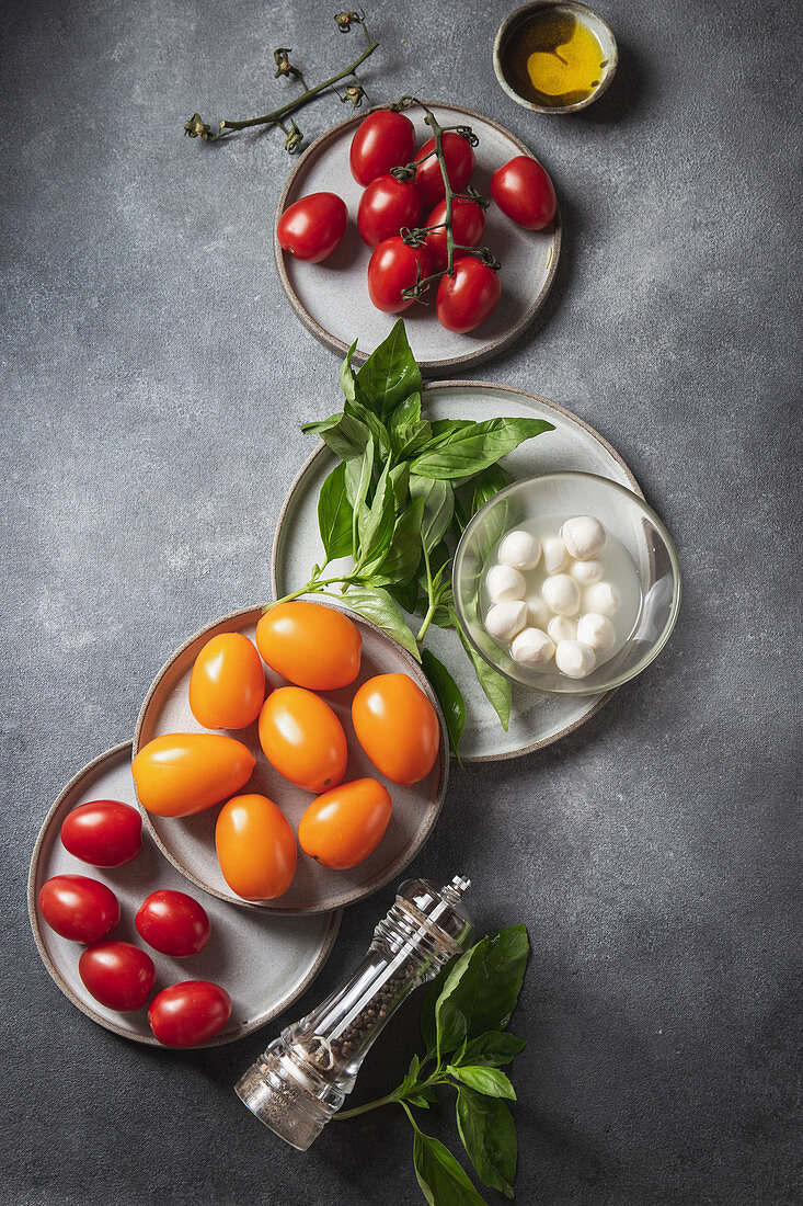 Ingredients fos caprese salad - tomatoes, basil and mozzarella