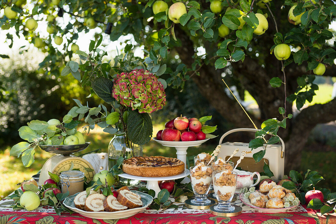 Summer buffet with apple pie, pastries and desserts