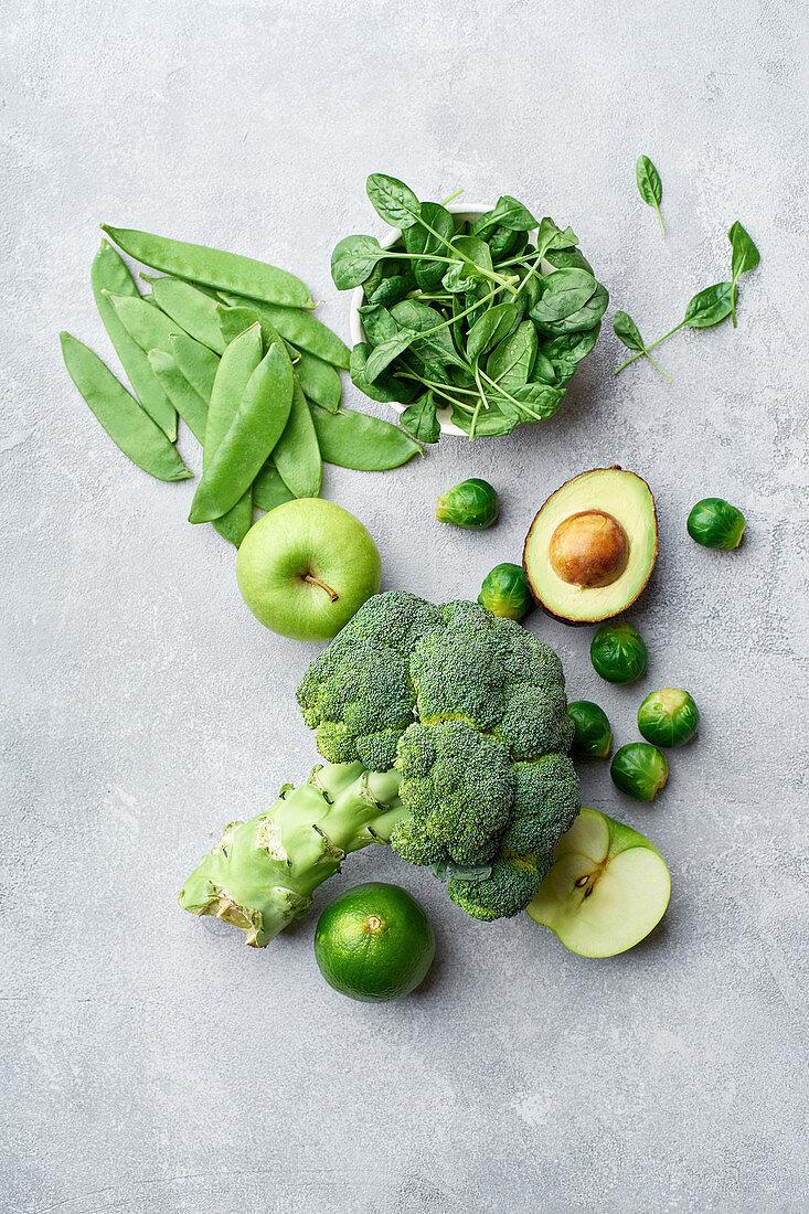Healthy vegetarian food ingredients in green colours