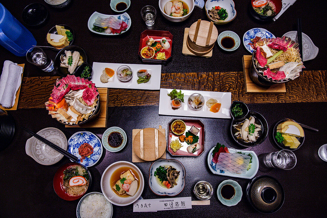 Kaiseki - light Japanese dishes with soy sauce, tofu, beef, mushrooms and rice