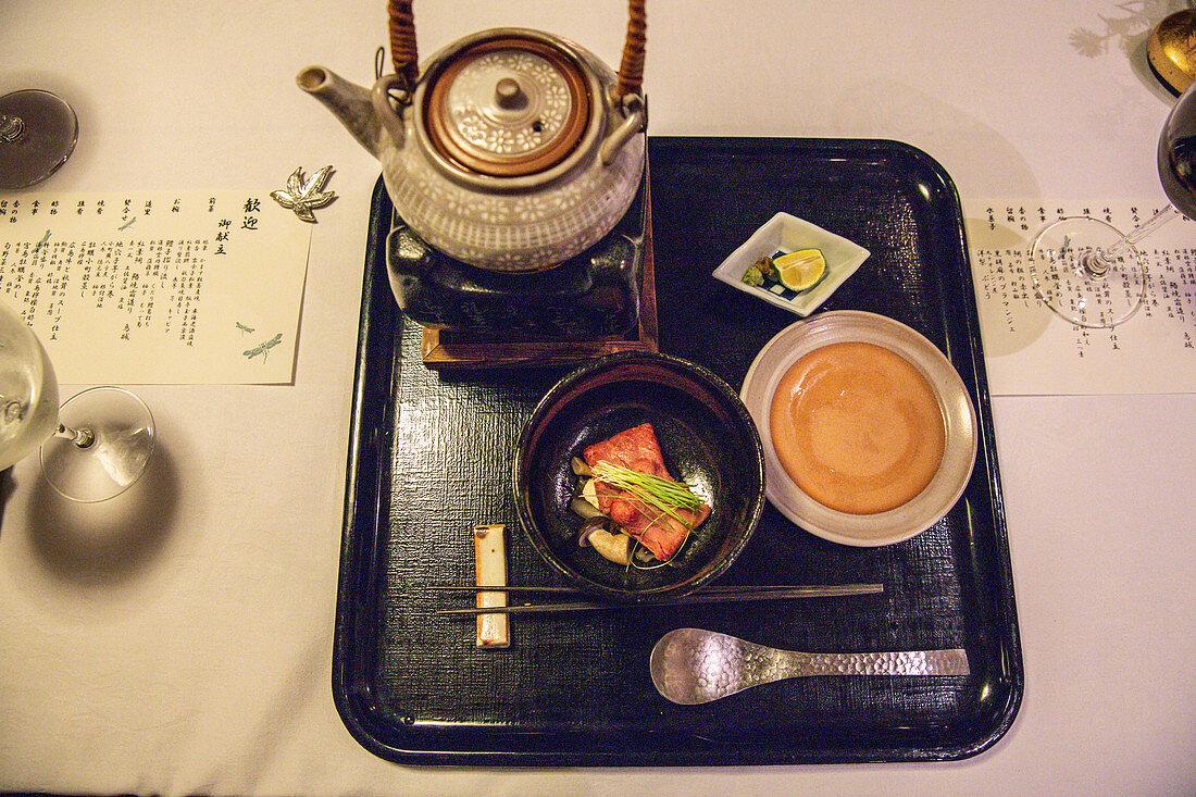 Kaiseki - light Japanese dish with tea