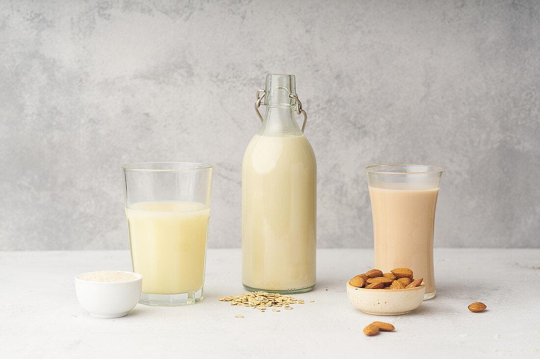 Rice milk, oat milk and almond milk